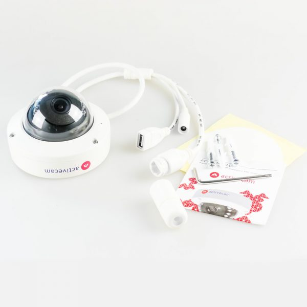 Фото 3 - ActiveCam AC-D3141IR1 + ПО TRASSIR в подарок. Уличная компактная сетевая Dome-камера 4Мп с WDR 120 дБ, ИК-подсветкой и USB.