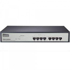 Фото 7 - PoE-коммутатор Gigabit Ethernet Netis PE6108G для подключения и питания 8 устройств.
