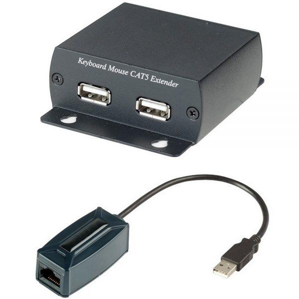 Фото 1 - Full Speed USB удлинитель клавиатуры и мыши KM03 по кабелю CAT5 UTP до 300 м.