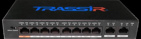 Фото 1 - TRASSIR TR-NS1010-96-8POE. Неуправляемый PoE-свитч с 8 PoE-портами (до 250 м).
