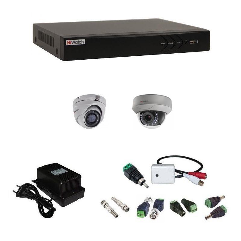 Фото 3 - Комплект 2-1-5 3Мп HiWatch видеонаблюдения на 2 камеры с микрофоном.