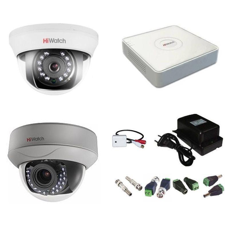 Фото 4 - Комплект 2-1-5 Full HD HiWatch видеонаблюдения на 2 камеры с микрофоном.