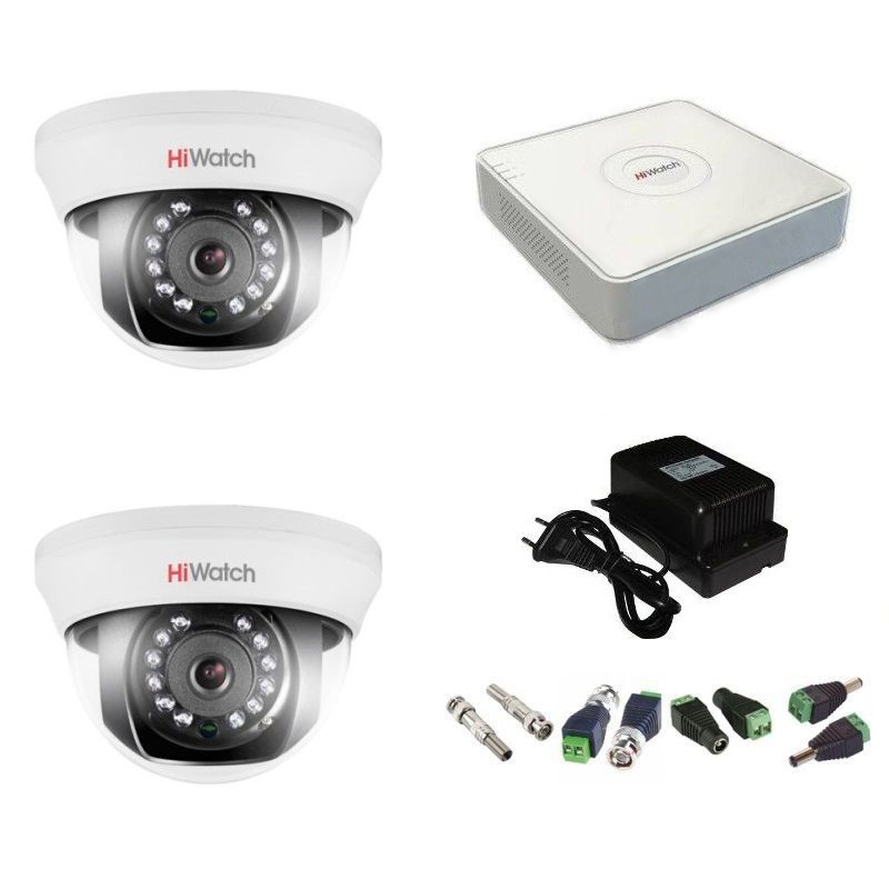 Фото 2 - Комплект 2-1 Full HD HiWatch видеонаблюдения на 2 камеры.