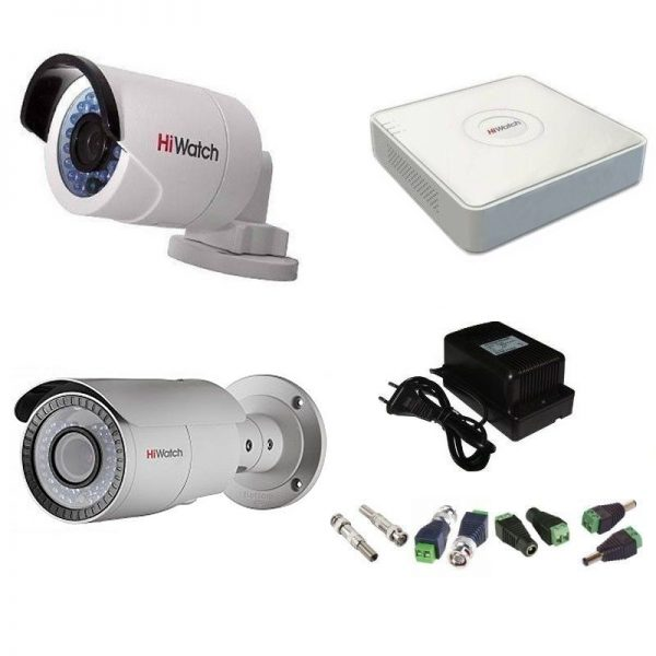 Фото 1 - Комплект 2-2-5 Full HD HiWatch видеонаблюдения на 2 камеры.