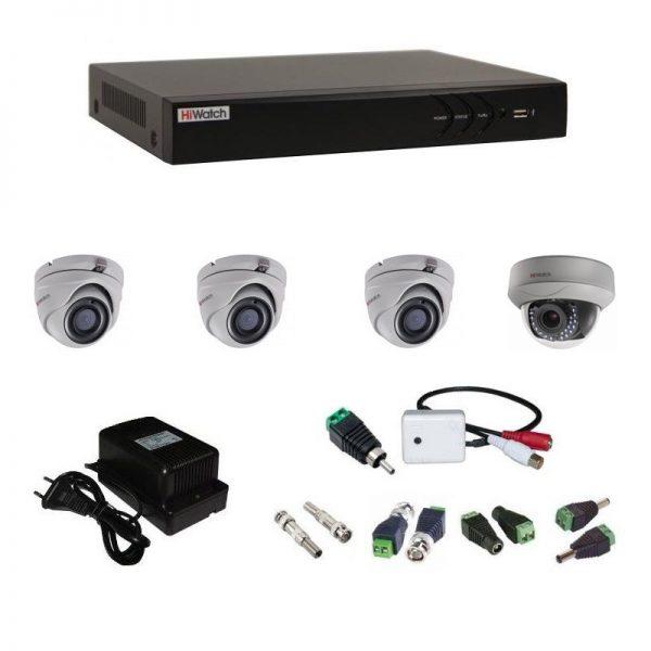 Фото 1 - Комплект 4-1-5 3Мп HiWatch видеонаблюдения на 4 камеры с микрофоном.