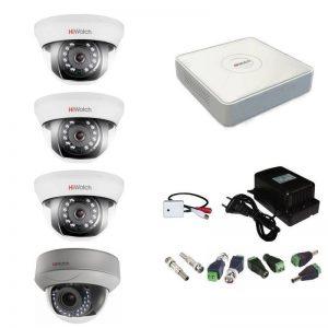Фото 12 - Комплект 4-1-5 Full HD HiWatch видеонаблюдения на 4 камеры с микрофоном.