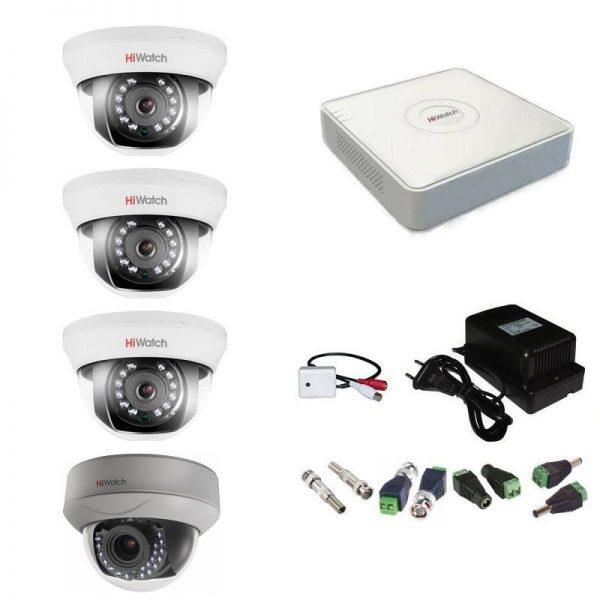 Фото 1 - Комплект 4-1-5 Full HD HiWatch видеонаблюдения на 4 камеры с микрофоном.