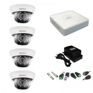 Фото 10 - Комплект 4-1 Full HD HiWatch видеонаблюдения на 4 камеры.