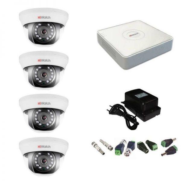 Фото 1 - Комплект 4-1 Full HD HiWatch видеонаблюдения на 4 камеры.