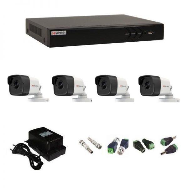 Фото 1 - Комплект 4-2 3Мп HiWatch видеонаблюдения на 4 камеры.