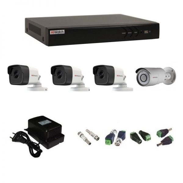 Фото 1 - Комплект 4-2-5 3Мп HiWatch видеонаблюдения на 4 камеры.