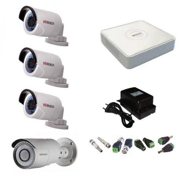 Фото 1 - Комплект 4-2-5 Full HD HiWatch видеонаблюдения на 4 камеры.