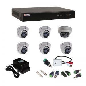 Фото 19 - Комплект 6-1-5 3Мп HiWatch видеонаблюдения на 6 камер с микрофоном.