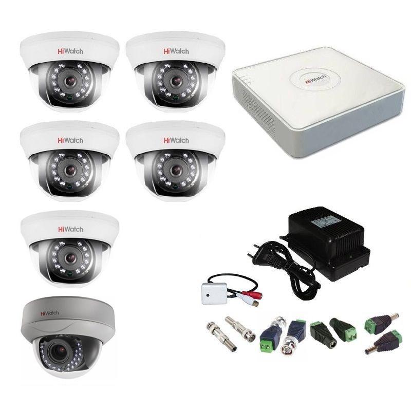 Фото 3 - Комплект 6-1-5 Full HD HiWatch видеонаблюдения на 6 камер с микрофоном.