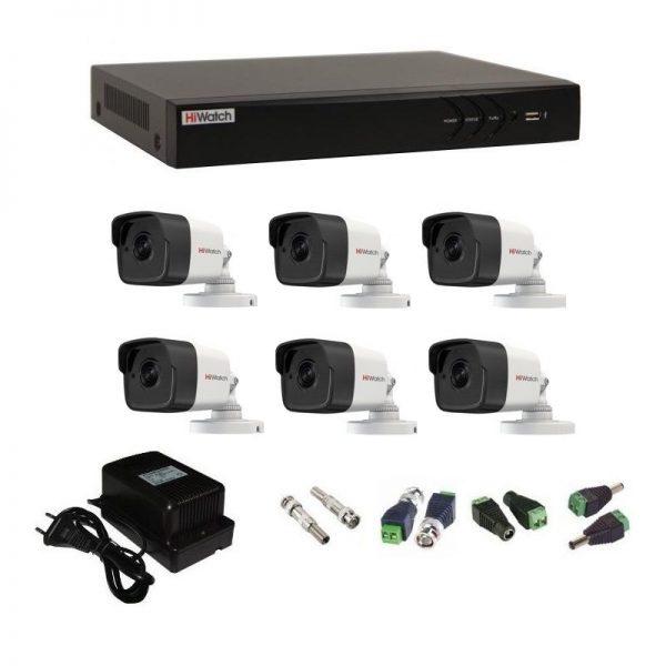 Фото 1 - Комплект 6-2 3Мп HiWatch видеонаблюдения на 6 камер.