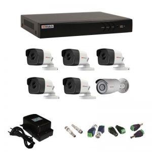 Фото 23 - Комплект 6-2-5 3Мп HiWatch видеонаблюдения на 6 камер.
