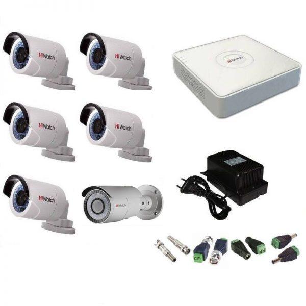Фото 1 - Комплект 6-2-5 Full HD HiWatch видеонаблюдения на 6 камер.