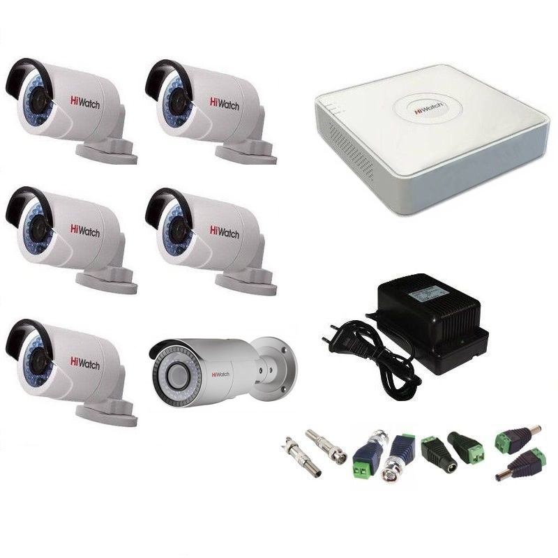 Фото 4 - Комплект 6-2-5 Full HD HiWatch видеонаблюдения на 6 камер.
