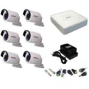 Фото 6 - Комплект 6-2 Full HD HiWatch видеонаблюдения на 6 камер.