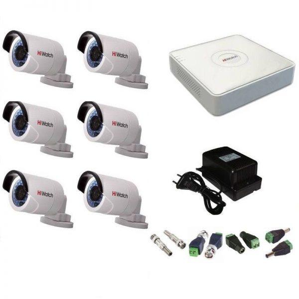 Фото 1 - Комплект 6-2 Full HD HiWatch видеонаблюдения на 6 камер.