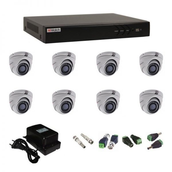 Фото 1 - Комплект 8-1 3Мп HiWatch видеонаблюдения на 8 камер.