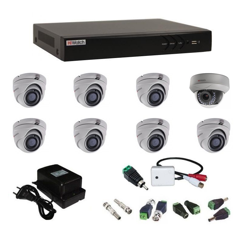 Фото 27 - Комплект 8-1-5 3Мп HiWatch видеонаблюдения на 8 камер с микрофоном.