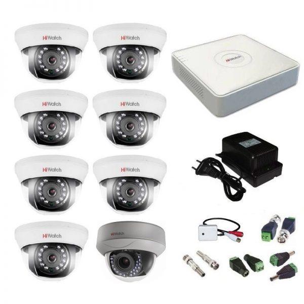 Фото 1 - Комплект 8-1-5 Full HD HiWatch видеонаблюдения на 8 камер с микрофоном.