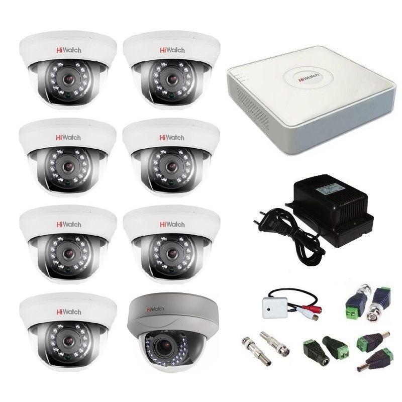 Фото 28 - Комплект 8-1-5 Full HD HiWatch видеонаблюдения на 8 камер с микрофоном.