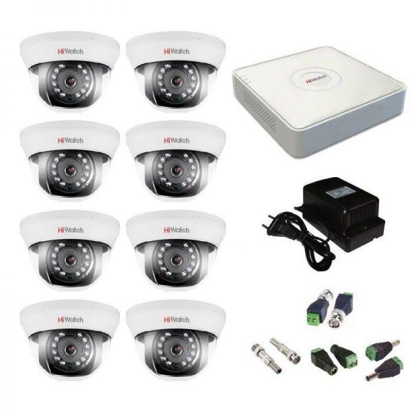 Фото 1 - Комплект 8-1 Full HD HiWatch видеонаблюдения на 8 камер.