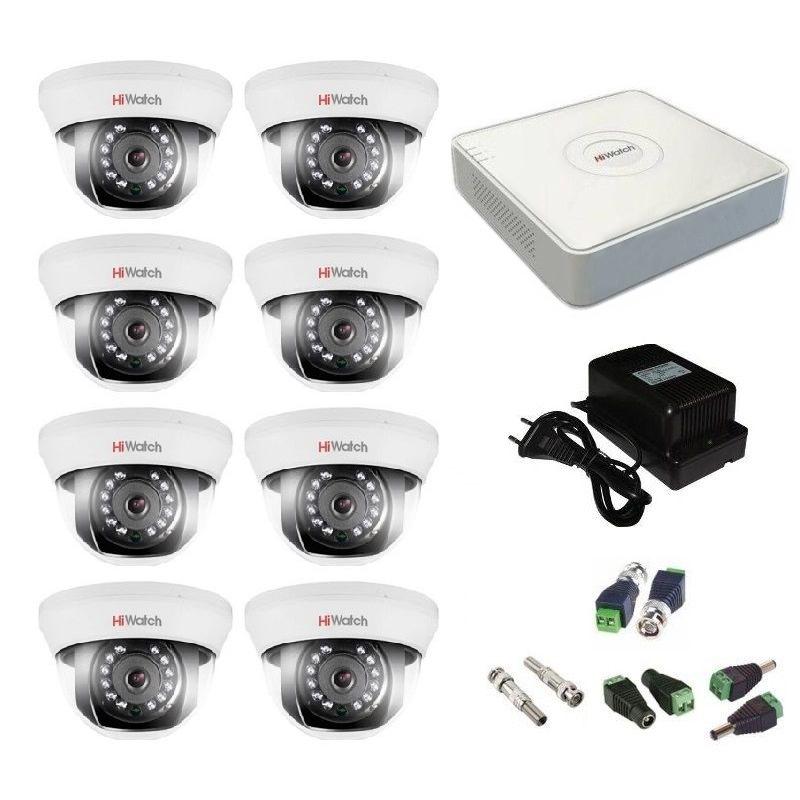 Фото 9 - Комплект 8-1 Full HD HiWatch видеонаблюдения на 8 камер.