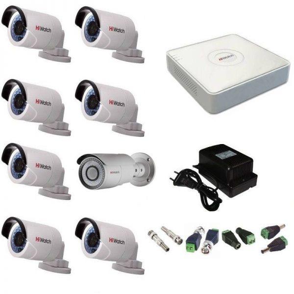 Фото 1 - Комплект 8-2-5 Full HD HiWatch видеонаблюдения на 8 камер.